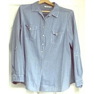 Cato Chambray Shirt Button Up Blue 18W 20W